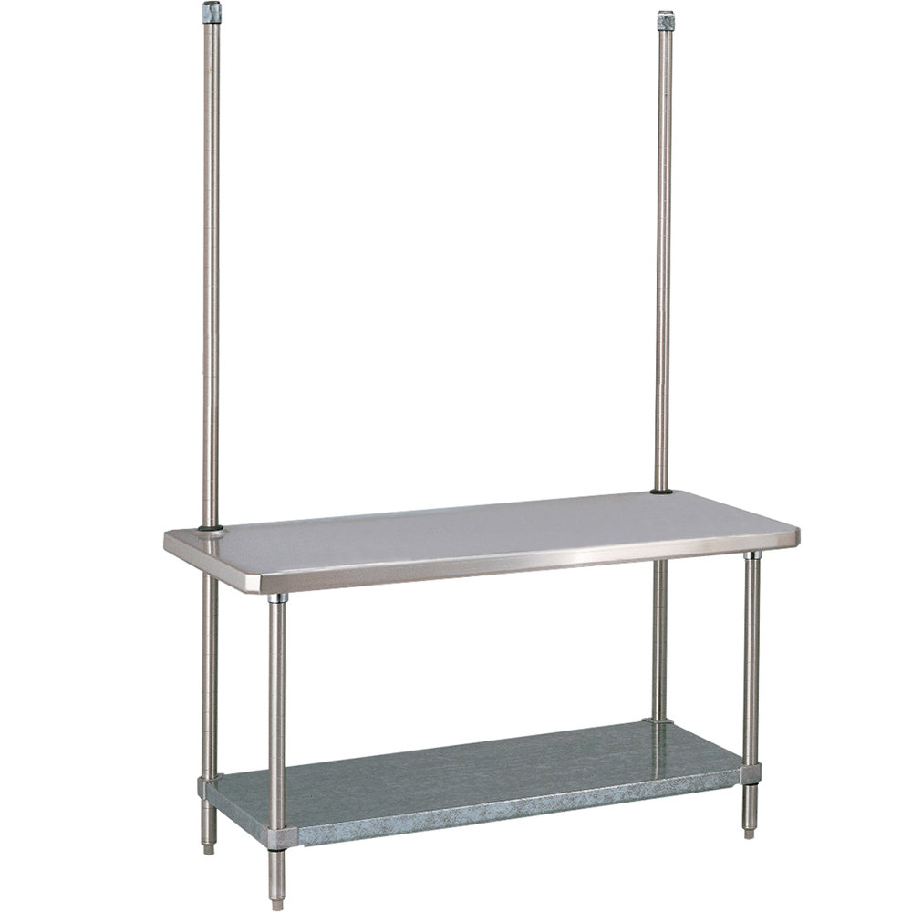 "14 Gauge Metro WTC306FC 30"" x 60"" HD Super Stainless Steel Work Table with Overhead and Galvanized Undershelf"
