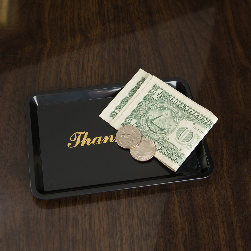 "6 1/2"" x 4 1/2"" Black and Gold Thank You Tip Tray"