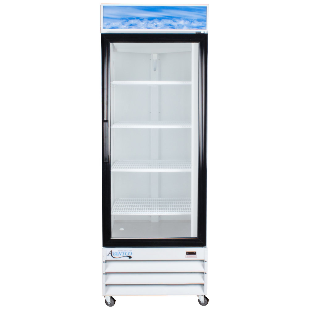 "Avantco GDC23 28"" White Swing Glass Door Merchandiser Refrigerator with LED Lighting"
