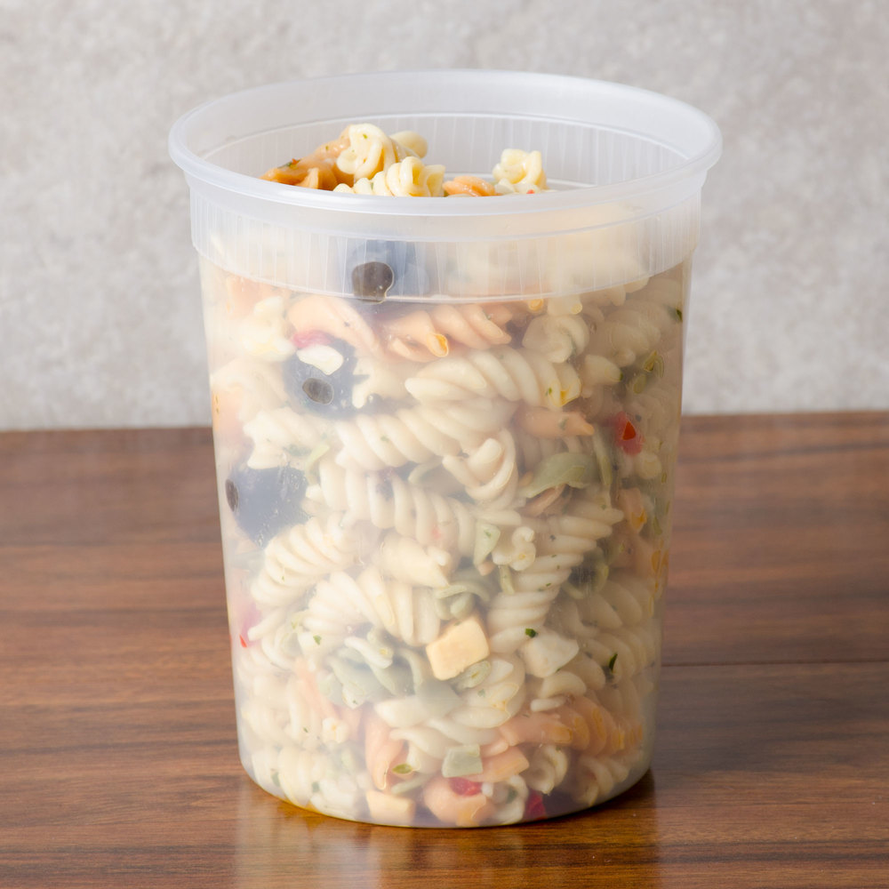 Newspring DELItainer SD5032Y 32 oz. Translucent Round Deli Container - 24/Pack