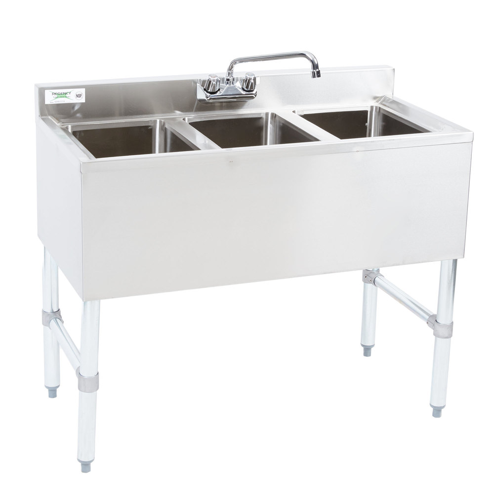 Regency 3 Bowl Underbar Sink with Faucet - 38 1/2\