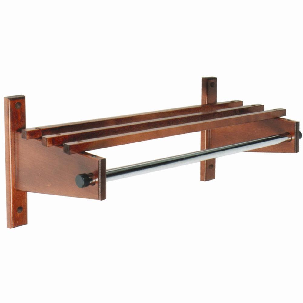 "Wall Hanging Coat Rack csl tco-2532 30"" mahogany hardwood top bars wall mount coat rack"