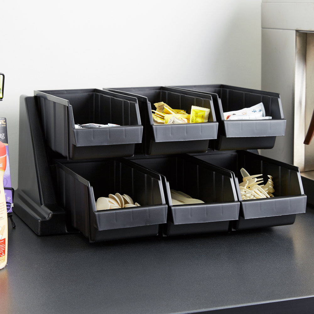 "Cambro 6RS6110 Black Versa Self Serve Condiment Bin Stand Set with 2-Tier Stand and 12"" Condiment Bins"