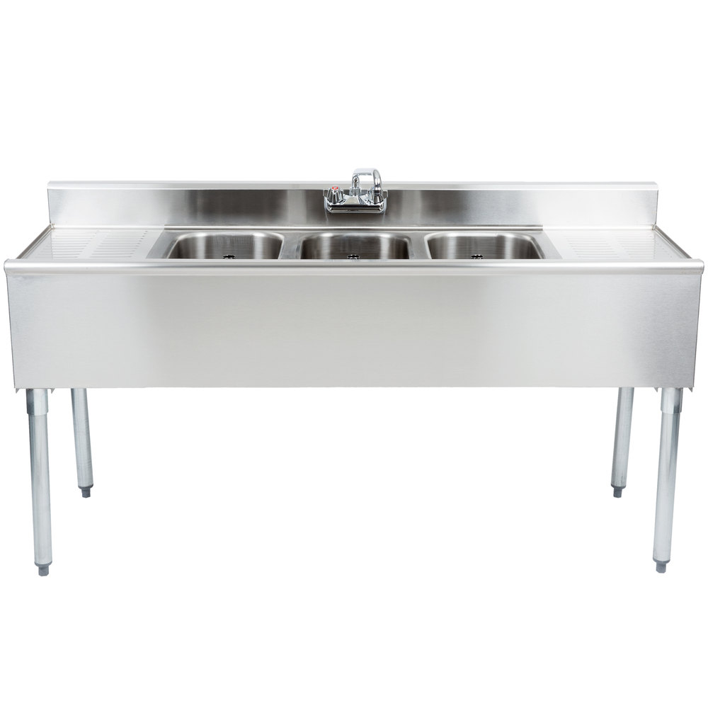 "Eagle Group B6C-18 3 Bowl Bar Sink With Two 19"" Drainboards and Splash Mount Faucet 72"" Long"