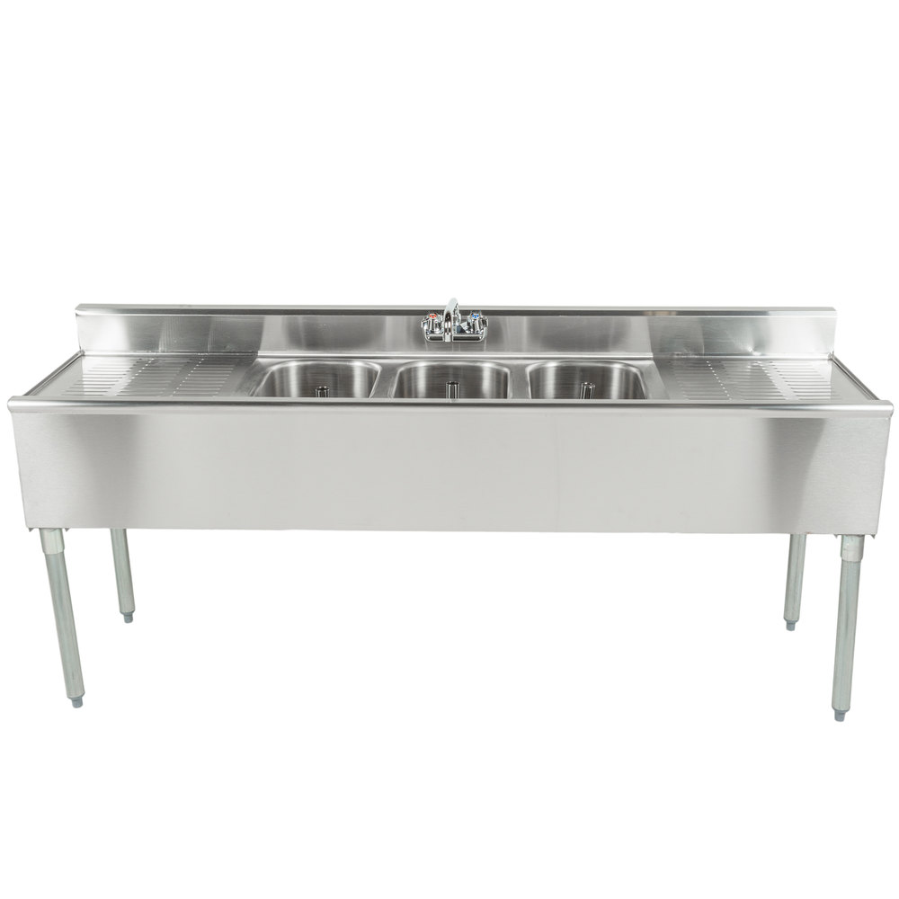Eagle Group B6c 18 3 Bowl Bar Sink With Two 19 Drainboards And Splash Mount Faucet 72 Long