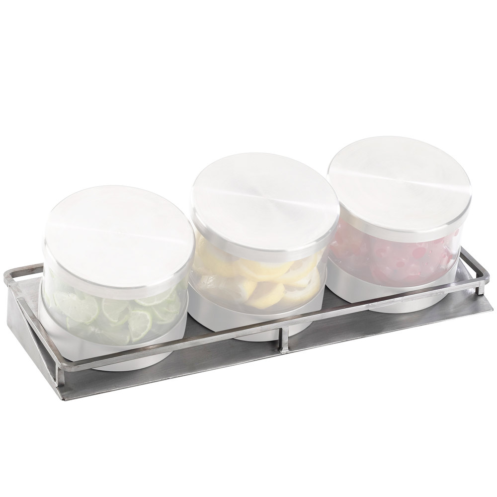 "Cal-Mil C18505 Mixology Stainless Steel Replacement Stand for 32 oz. Jars - 16 1/2"" x 6"" x 2"""