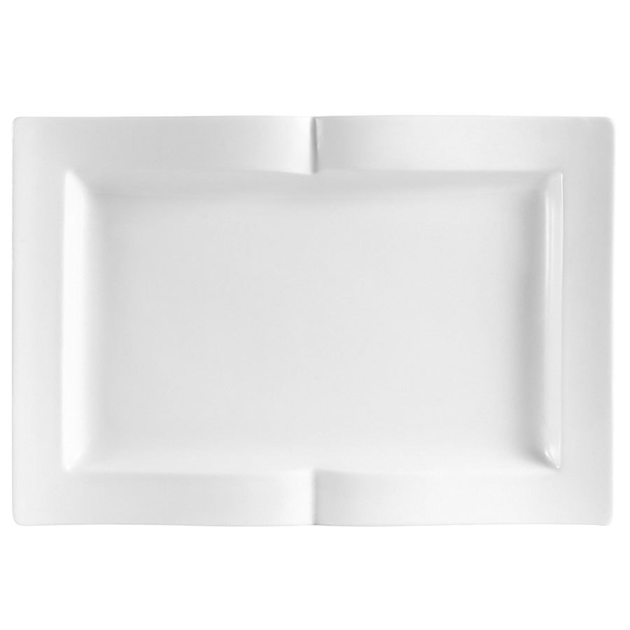"CAC GBK-14 Goldbook Bone White Book-Shaped China Serving Platter 13 1/2"" x 9 1/8"" - 12/Case"