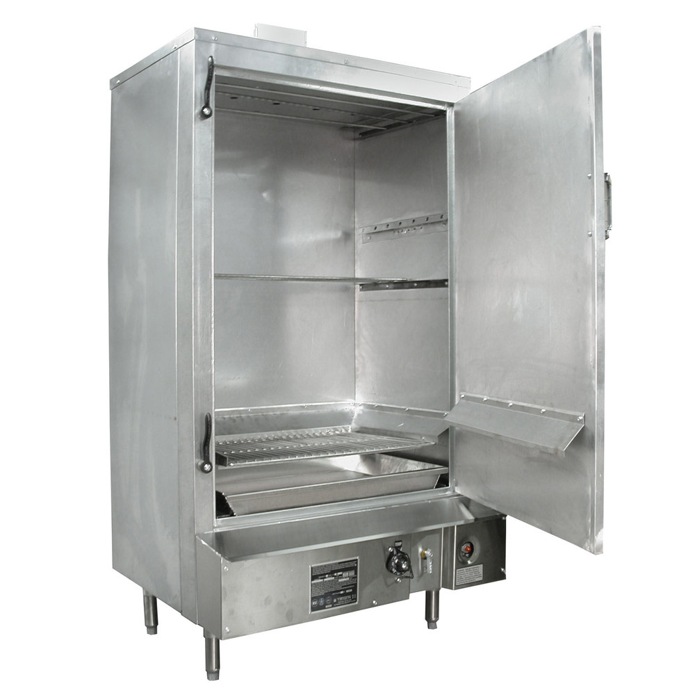 "Town SM-30-R-SS Natural Gas Indoor 30"" Stainless Steel Smokehouse with Right Door Hinges - 60,000 BTU"