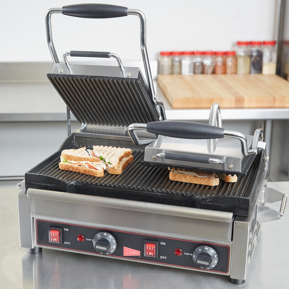 cecilware sg2lg double panini sandwich grill with grooved grill surfaces 240v. Black Bedroom Furniture Sets. Home Design Ideas