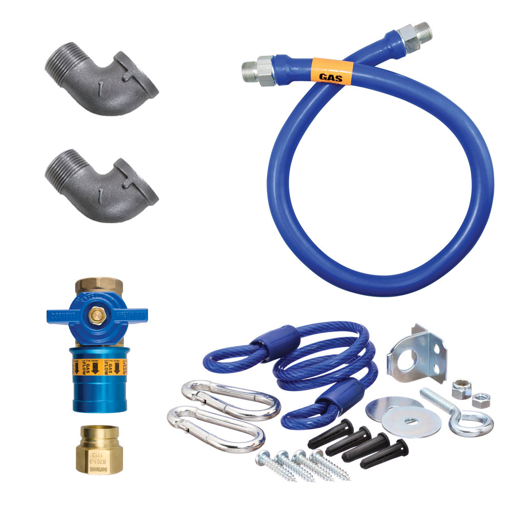"Dormont 16100KITCF48 Deluxe Safety Quik® 48"" Gas Connector Kit with Two Elbows and Restraining Cable - 1"" Diameter"