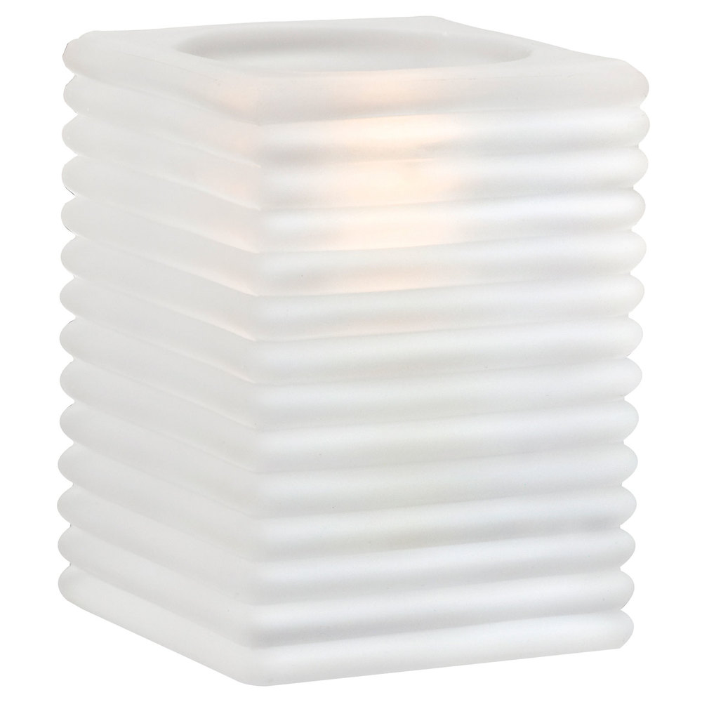 "Sterno Products 80144 4"" Frosted Ribbed Kelly Square Liquid Candle Holder"