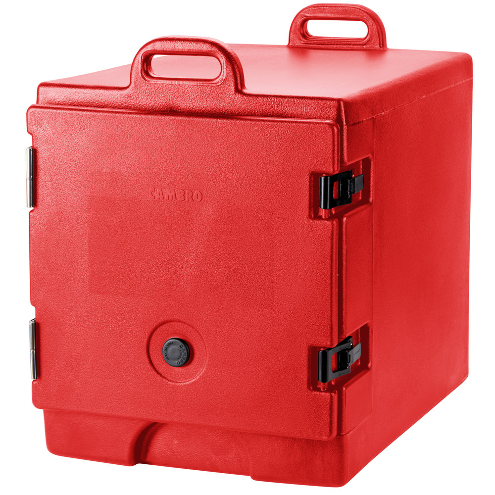 "Cambro 300MPC158 Hot Red Camcarrier Pan Carrier with Handles - Front Load for 12"" x 20"" Food Pans"