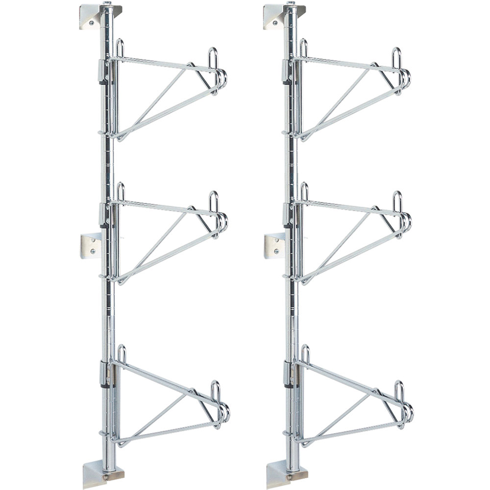 "Metro SW55C Super Erecta Chrome Triple Level Post-Type Wall Mount End Unit for 24"" Deep Shelf"