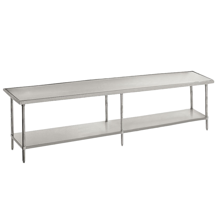 "Advance Tabco VSS-369 36"" x 108"" 14 Gauge Stainless Steel Work Table with Stainless Steel Undershelf"
