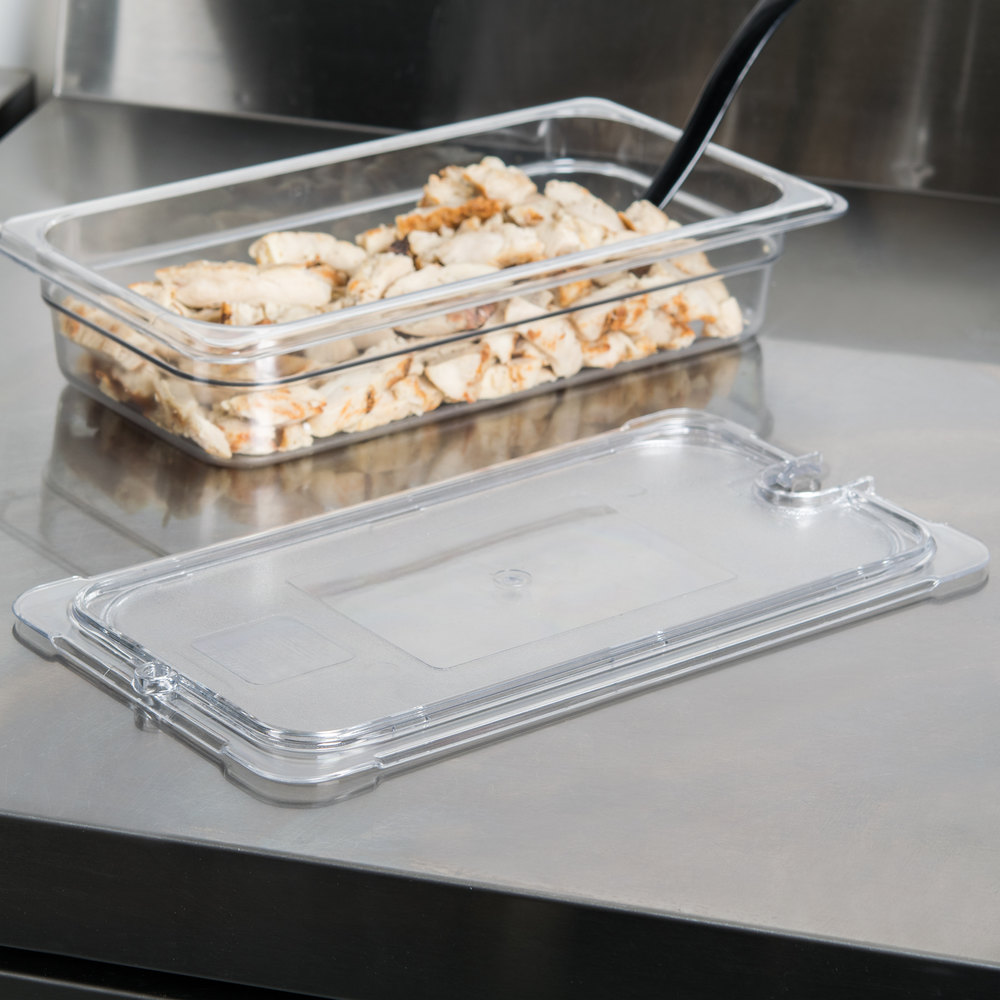 Carlisle 10277U07 StorPlus 1/3 Size Clear Universal Flat Lid with Spoon Notch