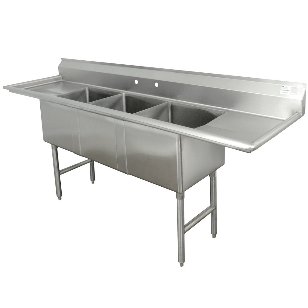 advance tabco fc 3 2030 20rl three compartment stainless steel commercial sink with two drainboards 100 - Three Compartment Kitchen Sink