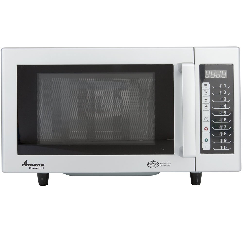 Amana Rms10ts Stainless Steel Commercial Microwave With Push On Controls 120v 1000w