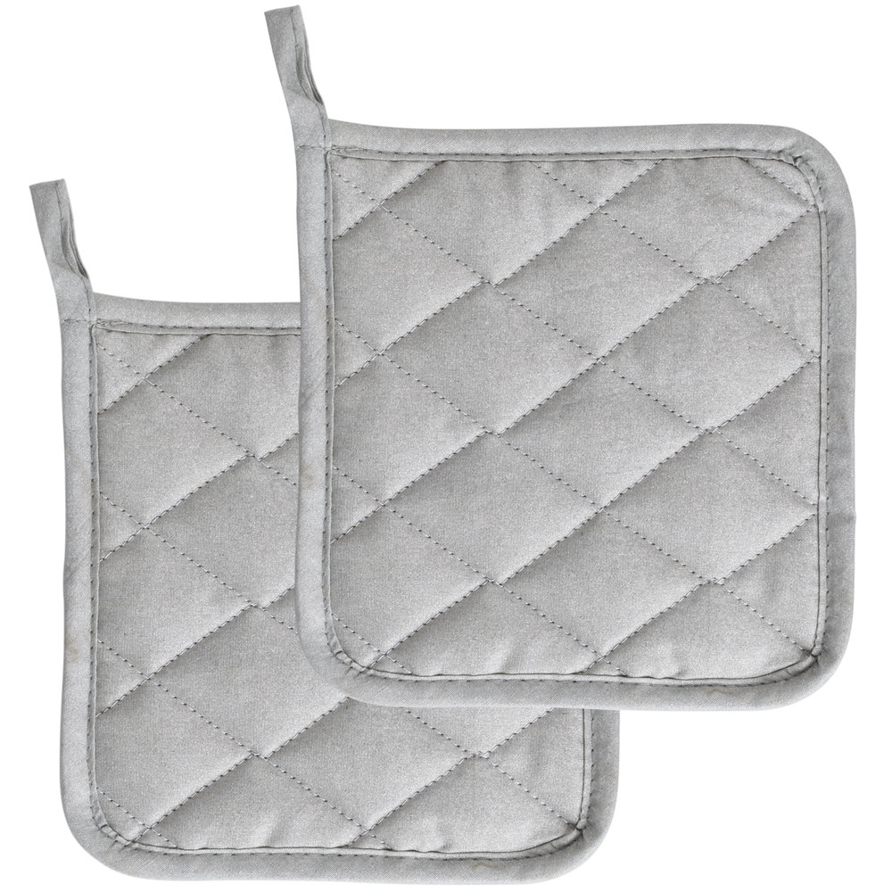 "Silicone Pot Holders: Choice 8"" Square Silver Silicone Pot Holder"