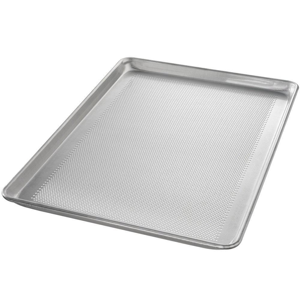"Chicago Metallic 44895 Perforated Full Size 18 Gauge Glazed Aluminum Sheet Pan - Wire in Rim, 18"" x 26"""