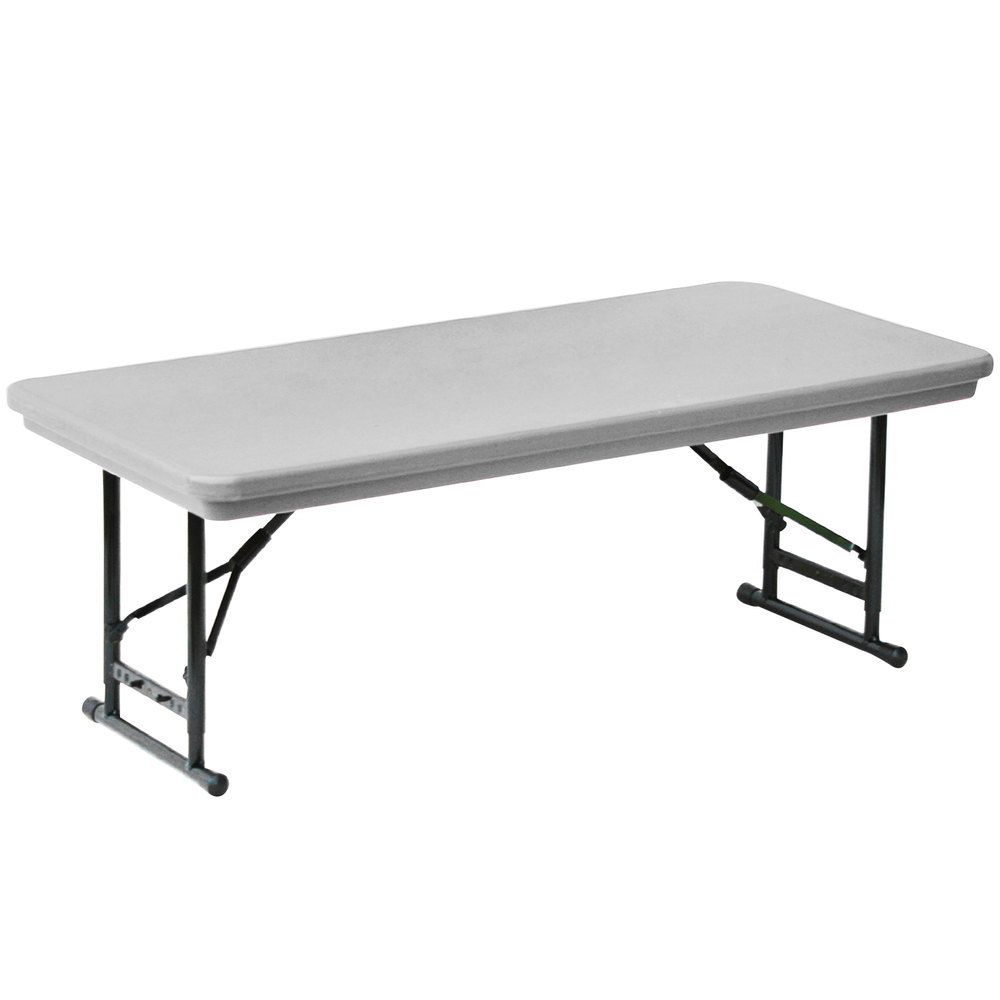 "Furniture Legs Short correll adjustable height folding table, 24"" x 48"" plastic, gray"
