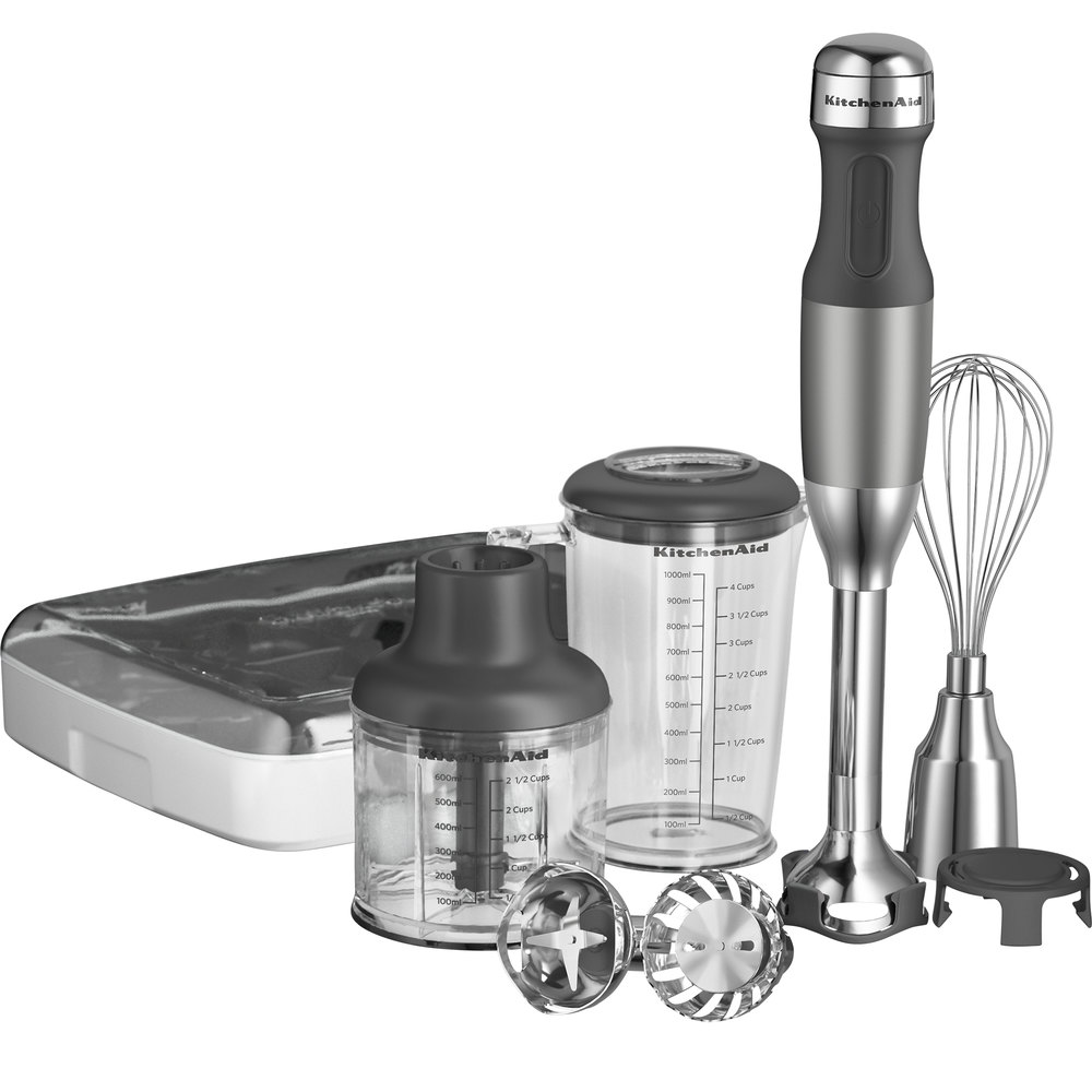 Kitchenaid Khb2561cu Contour Silver 5 Speed Hand Blender With 8 Shaft And Interchangeable Blade