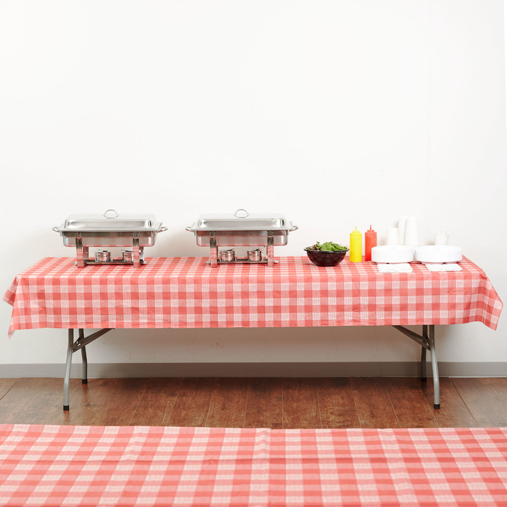 "Hoffmaster 236414 50"" x 108"" Linen-Like Red Check Patterned Table Cover - 24/Case"