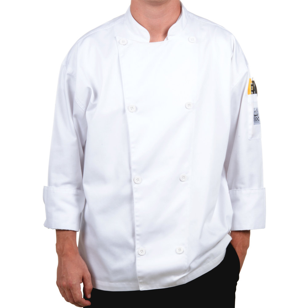 Chef Revival Silver J002-XS Knife and Steel Size 32 (XS) White Customizable Long Sleeve Chef Jacket - Poly-Cotton Blend