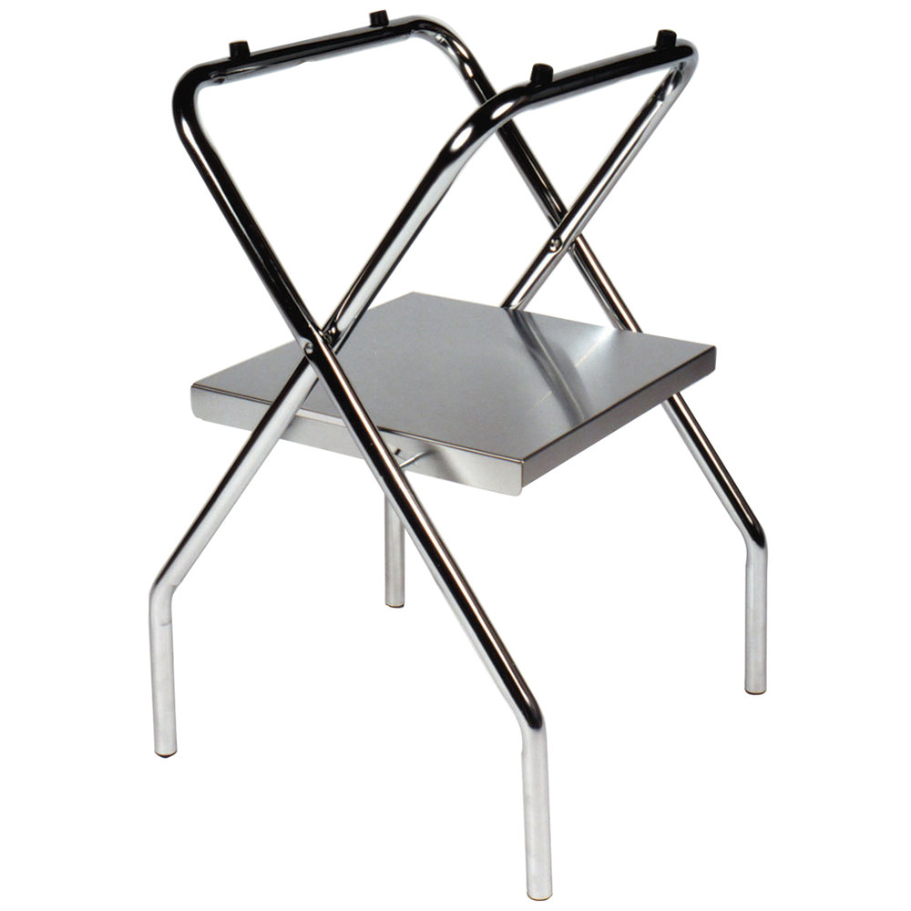 """CSL 1054S C 30 1 2"""" Zinc Steel Folding Tray Stand with Stainless"""