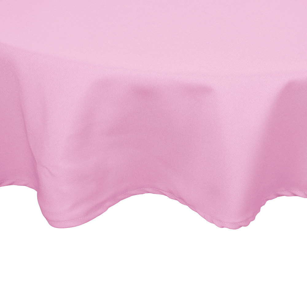 "72"" Round Pink 100% Polyester Hemmed Cloth Table Cover"