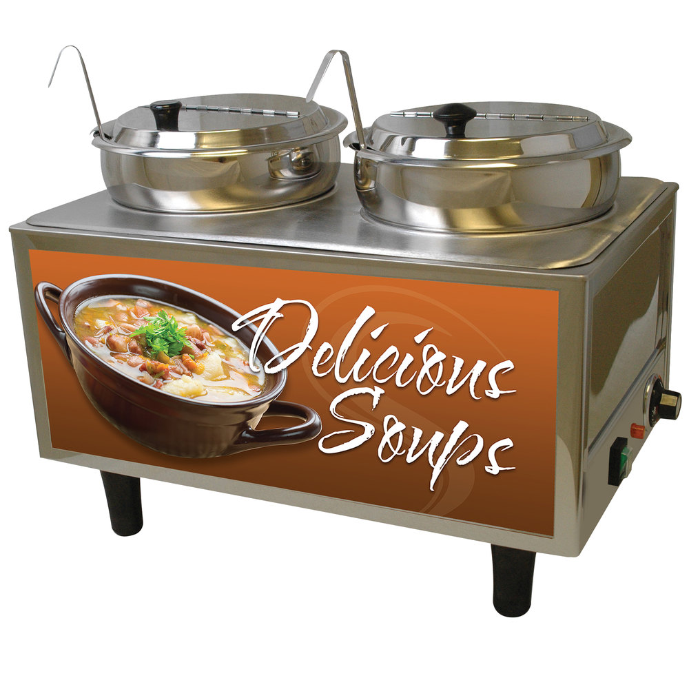 Restaurant Soup Warmer ~ Benchmark usa s dual qt soup warmer with ladles