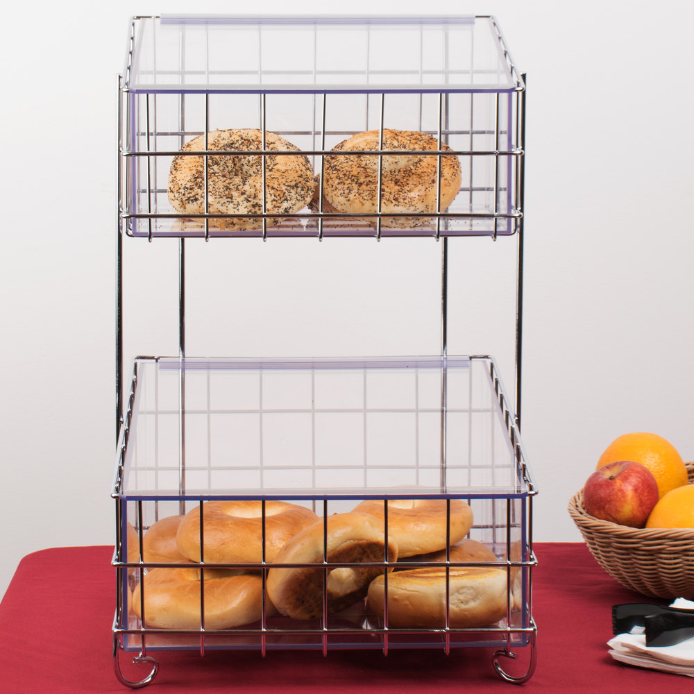 Cal-Mil 1203-49 Chrome Two Tier Metal Bagel Basket with Lidded Inserts