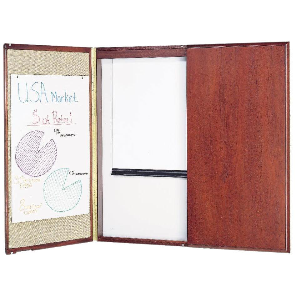 Quartet 851 Mahogany Frame White Marker Board Cabinet with ...