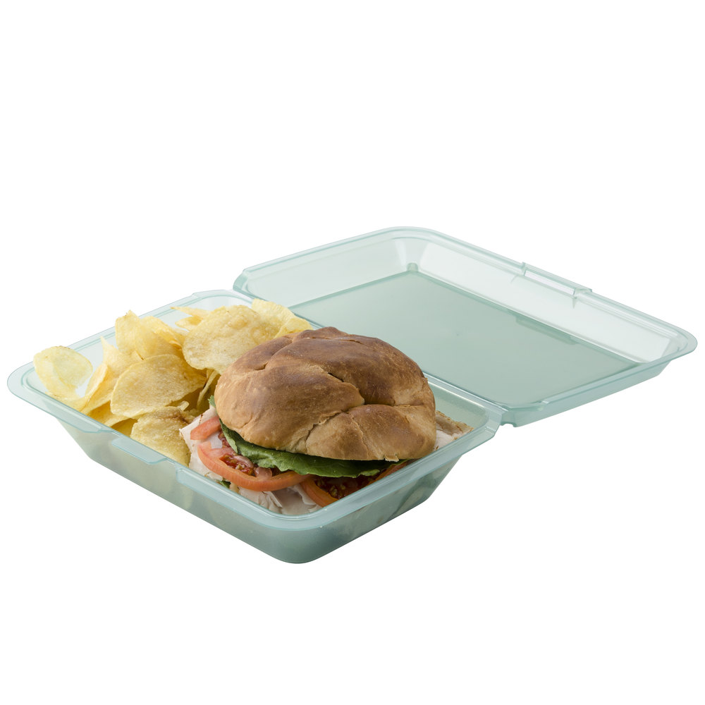 "GET EC-04 9"" x 6 1/2"" x 2 1/2"" Jade Green Reusable Eco-Takeouts Container - 12/Pack"