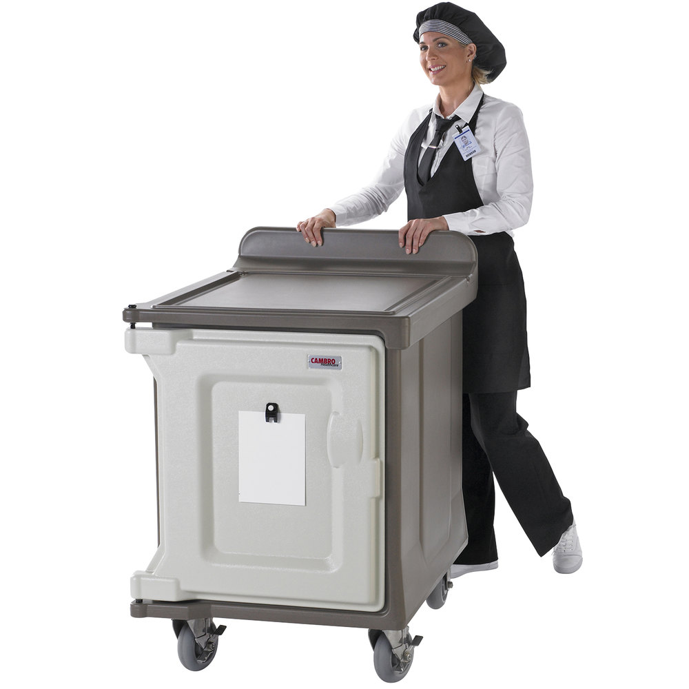 "Cambro MDC1520S10DH194 Granite Sand 10 Tray Dual Access Meal Delivery Cart with 6"" Heavy-Duty"