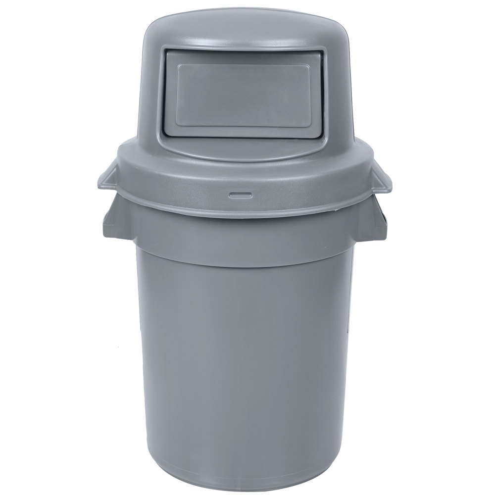 44 Gallon Gray Trash Can With Continental Huskee Dome Top Lid