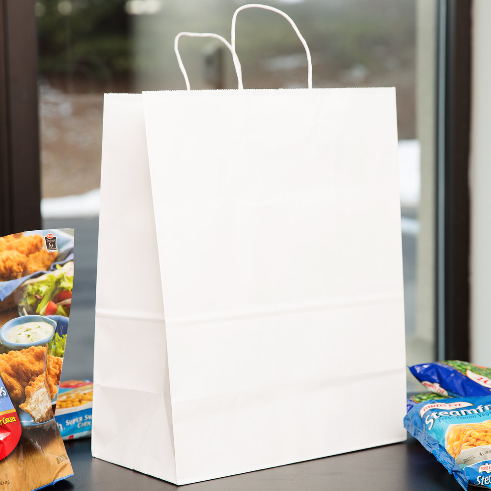 "Duro Mart 13"" x 7"" x 17"" White Shopping Bag with Handles - 250/Bundle"