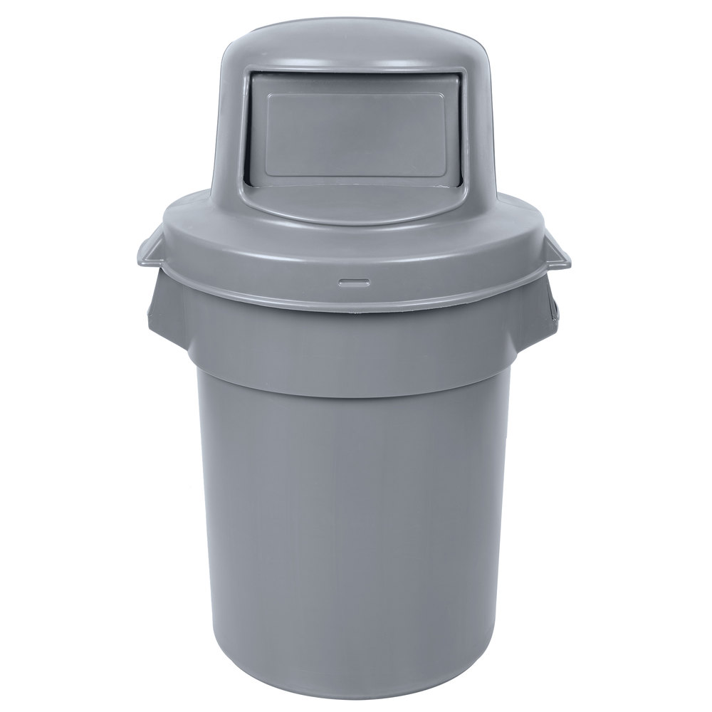 continental huskee 55 gallon gray trash can with dome top lid. Black Bedroom Furniture Sets. Home Design Ideas