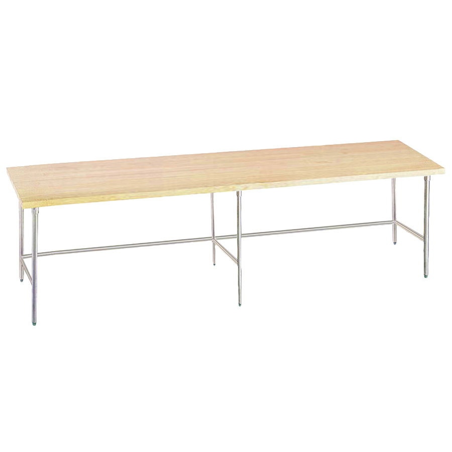 "Advance Tabco TH2S-368 Wood Top Work Table with Stainless Steel Base - 36"" x 96"""