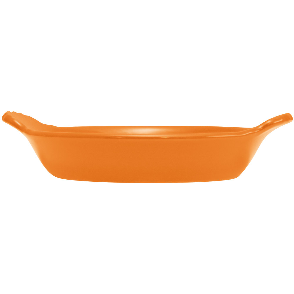 Hall China 30433325 Tangerine 8 oz. Colorations Round Au Gratin Baking Dish - 24/Case