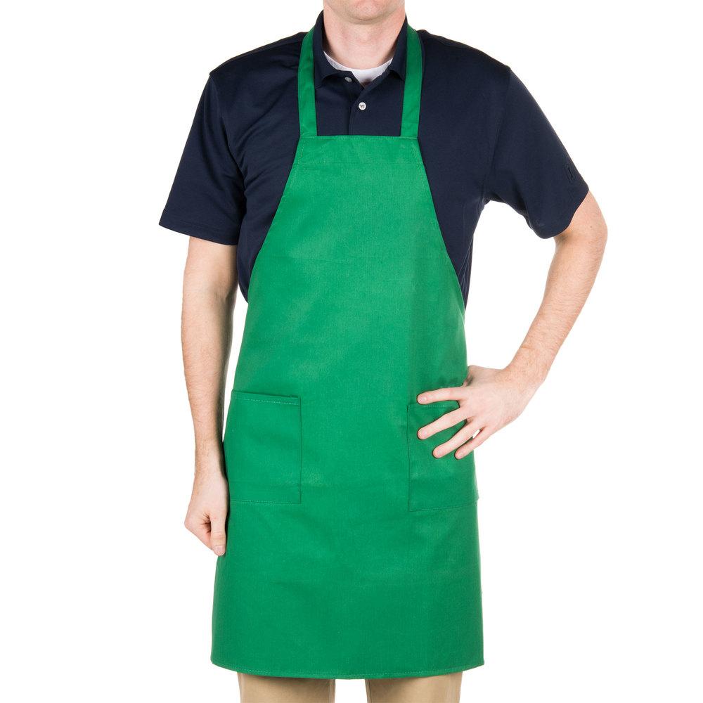 Choice Kelly Green Full Length Bib Apron With Pockets 34