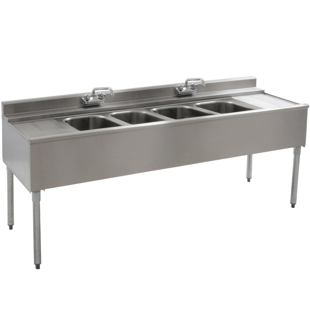 "Eagle Group B6C-4-22 72"" Underbar Sink with Four Compartments, Two Drainboards, and Two Faucets"
