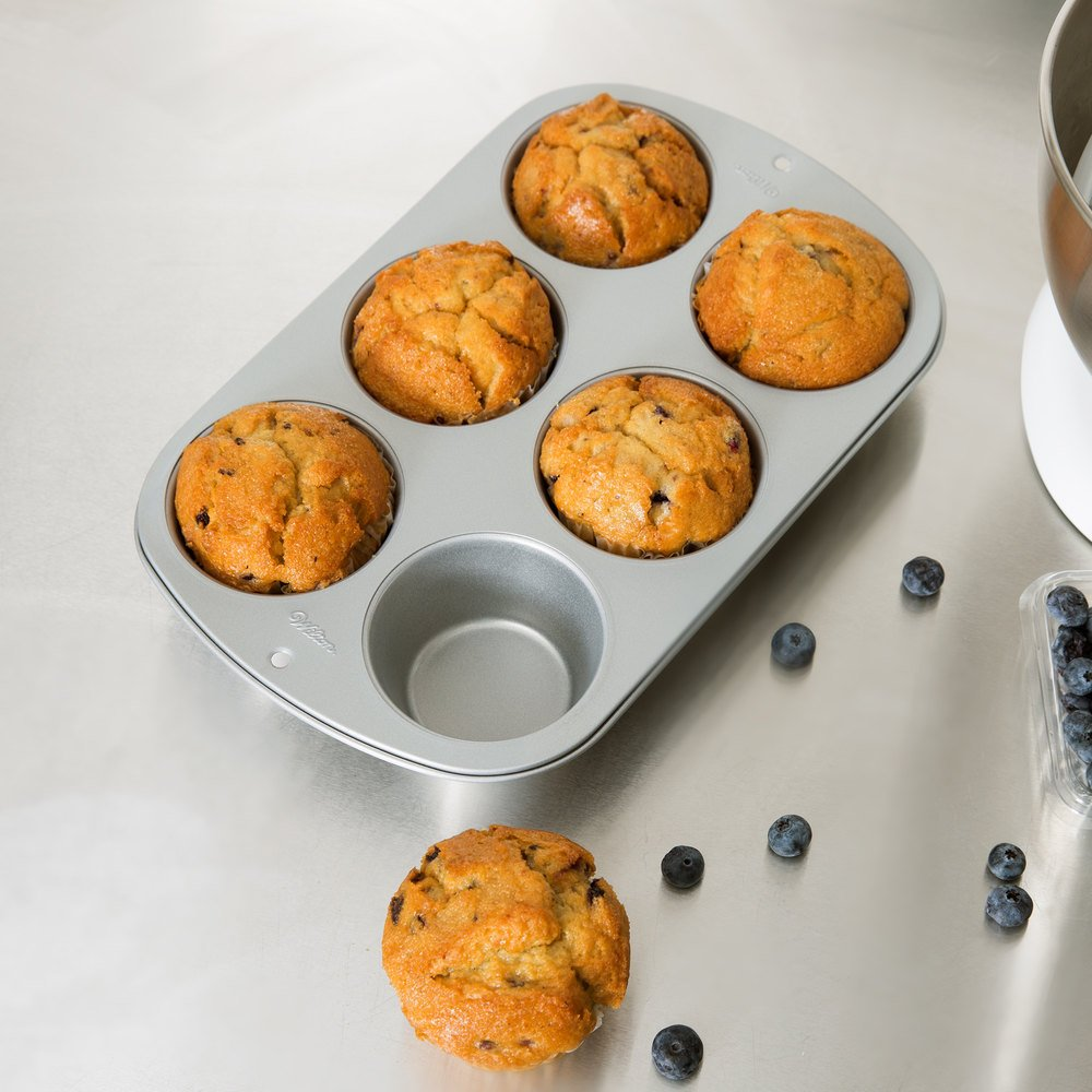 "Wilton 2105-955 Recipe Right 6 Cup Non-Stick Jumbo Muffin Pan - 13 1/4"" x 8 5/8"""