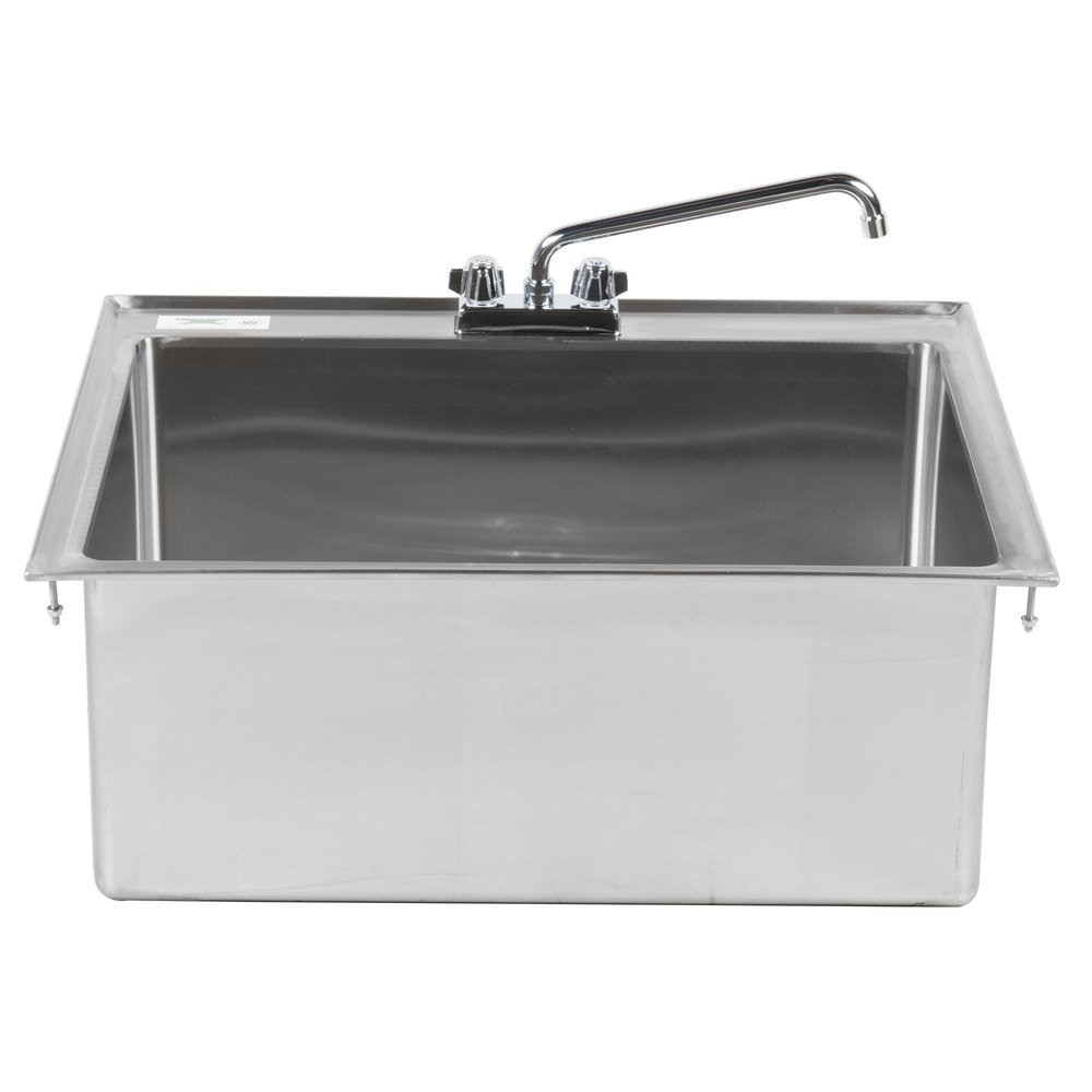 "Regency 28"" x 20"" x 12"" 16-Gauge Stainless Steel One Compartment Drop-In Sink with 12"" Faucet"