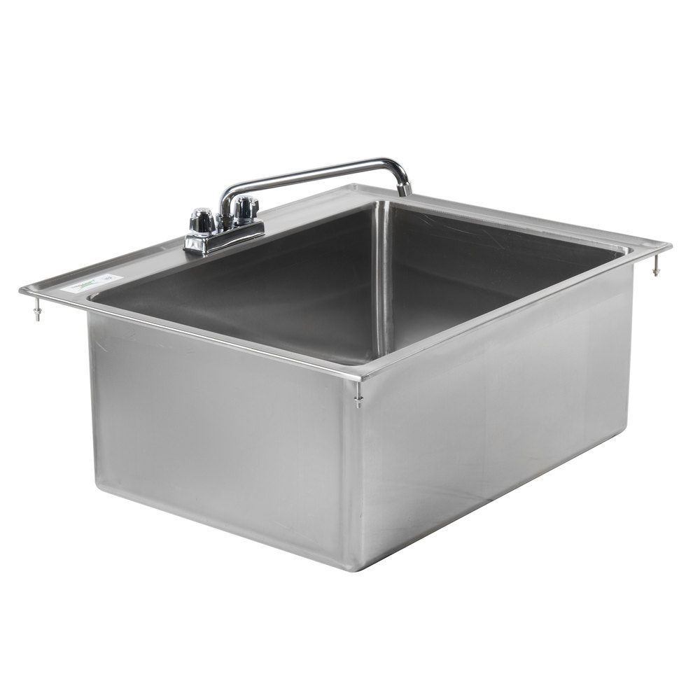 Regency 28 inch x 20 inch x 12 inch 16-Gauge Stainless Steel One Compartment Drop-In Sink with 12 inch Faucet