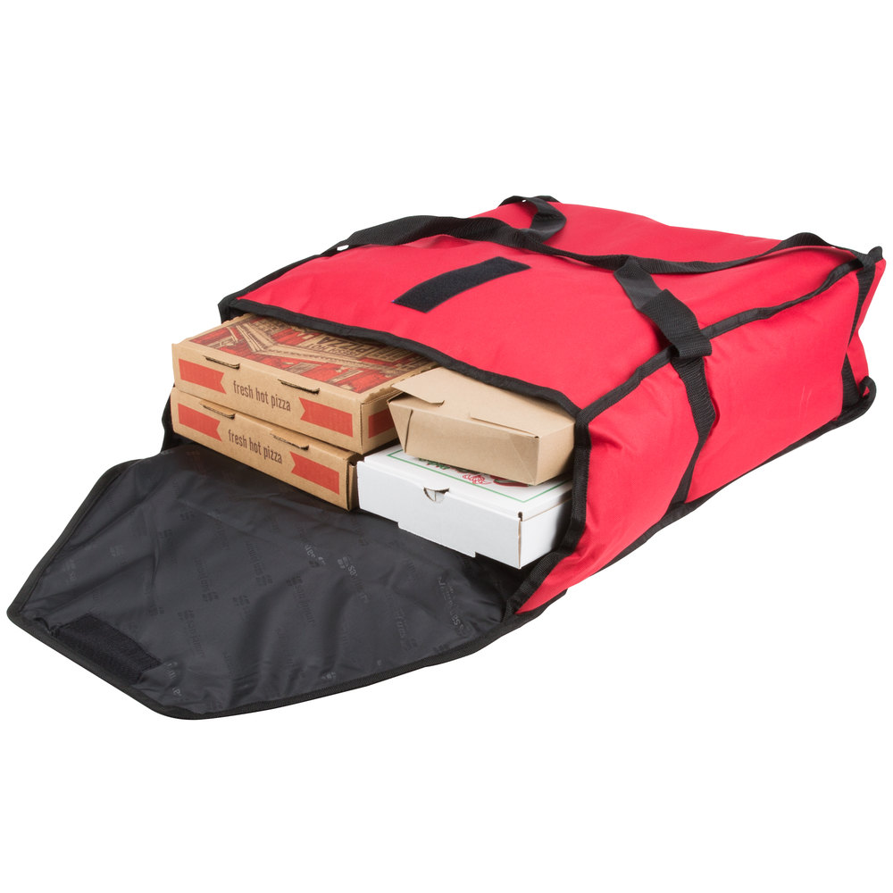 "San Jamar PB20-6 20"" x 18"" x 6"" Insulated Red Nylon Pizza Delivery Bag"