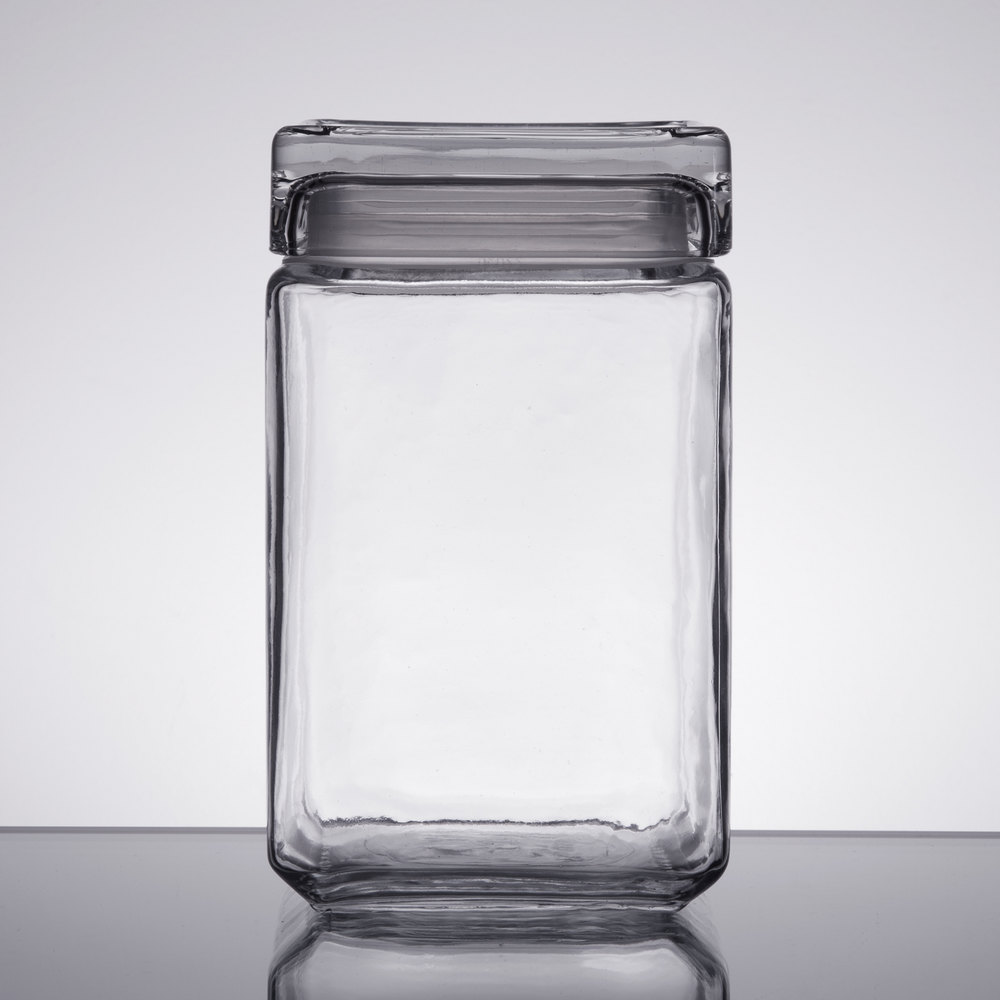 Anchor Hocking 85588r 1 5 Qt Clear Stackable Square Glass Jar