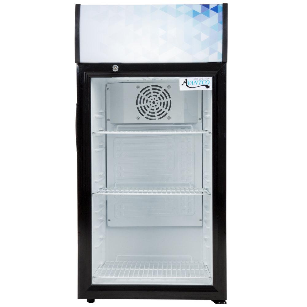 Avantco SC-80 Black Countertop Display Refrigerator with Swing Door