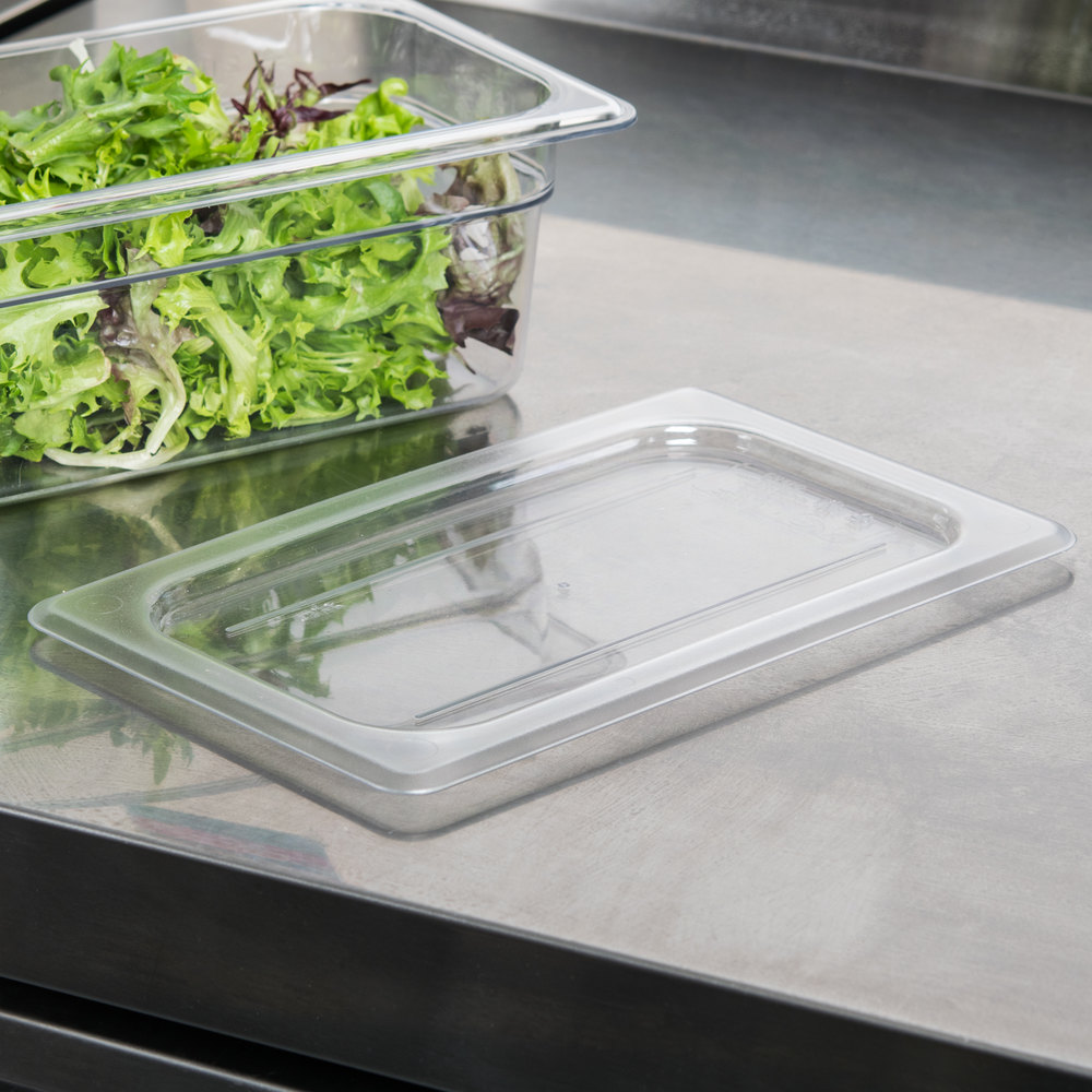 Cambro 40CWC135 Camwear 1/4 Size Clear Polycarbonate Flat Lid