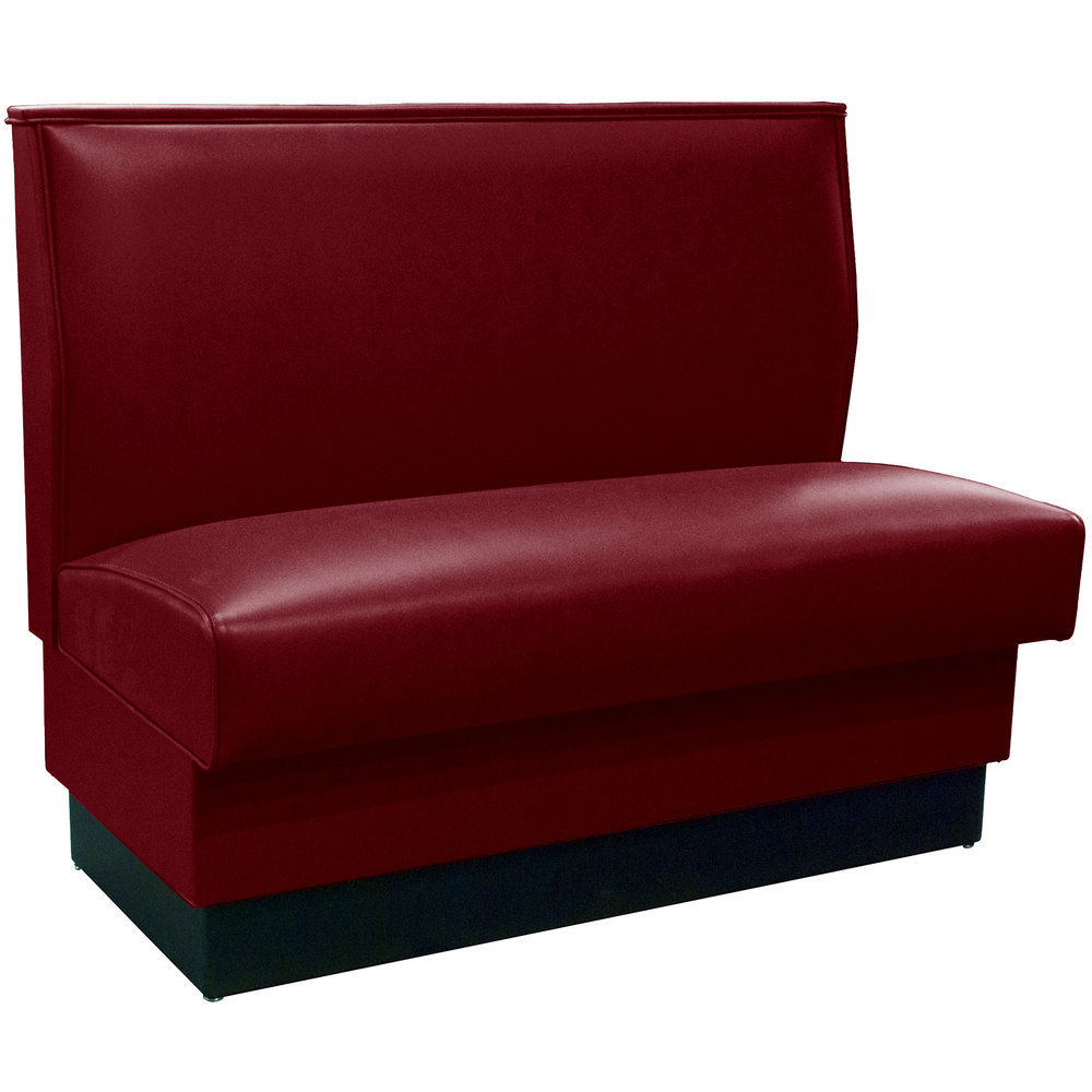 "American Tables & Seating QAS-42 Sangria Plain Single Back Booth 42"" High - Fully Upholstered Quick Ship"