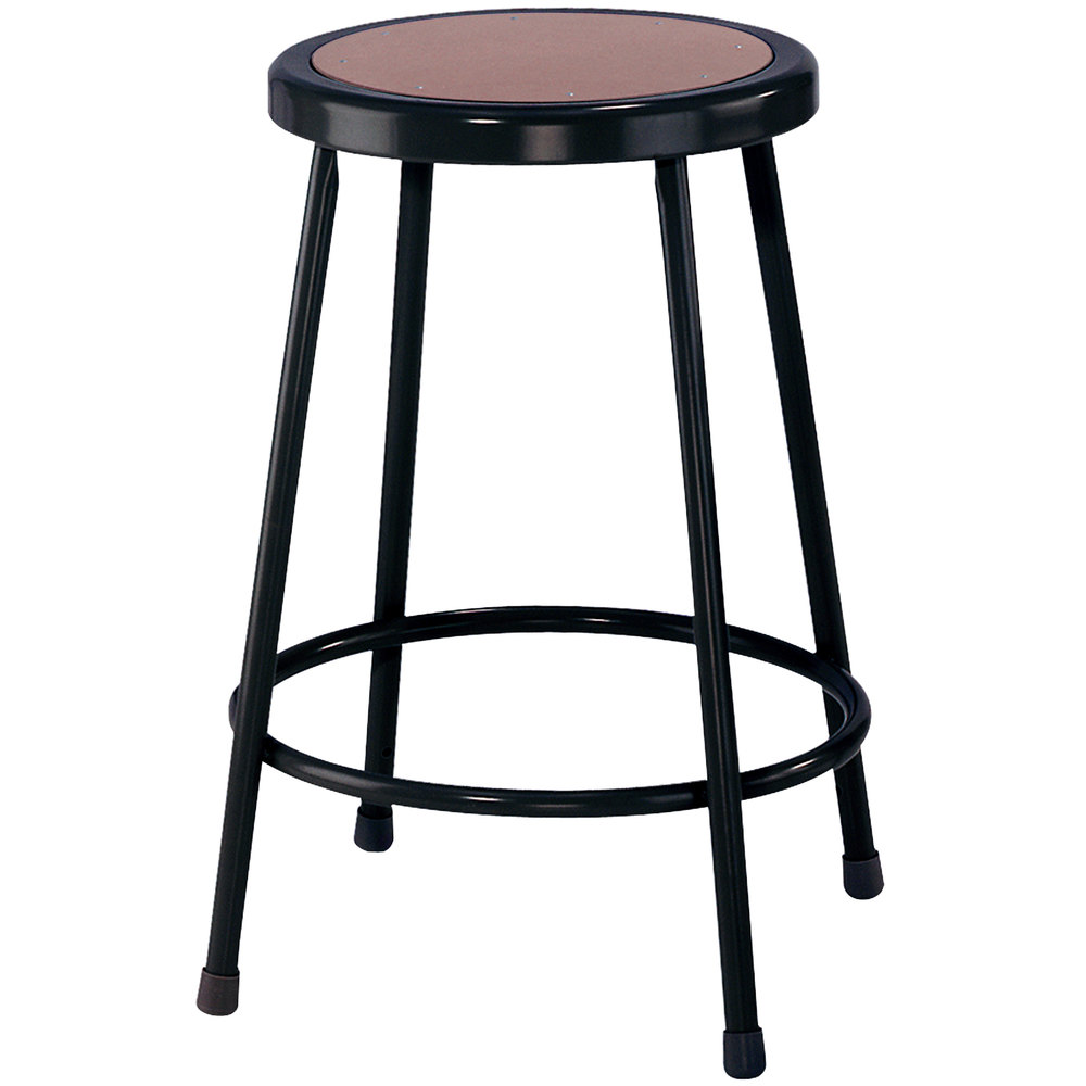 "National Public Seating 6224-10 Black 24"" Hardboard Round Lab Stool"